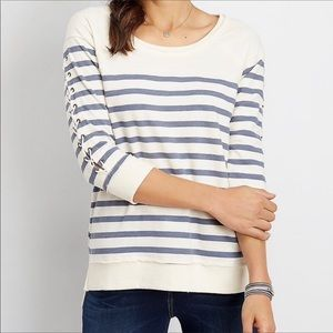 Lace up Sleeve Stripe Tee Sz L NWT
